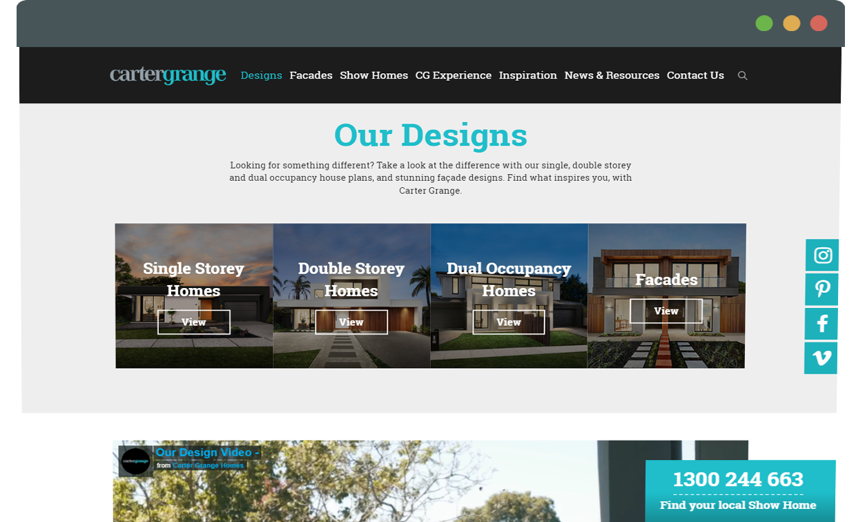 carter grange website design