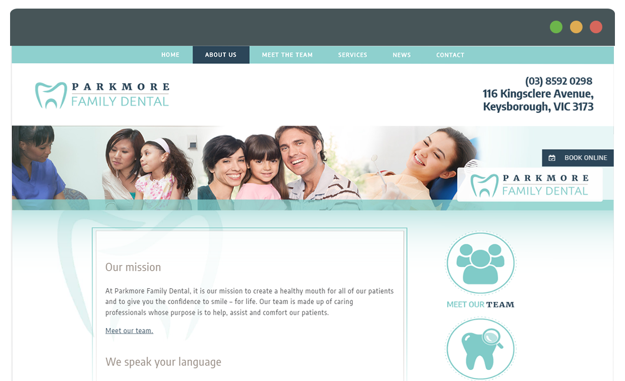 parkmore website display