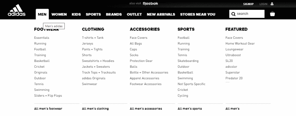 Adidas websites flat structure
